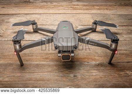 Fort Collins, CO, USA - June 30, 2021: DJI Mavic 2 pro with ND filter on a camera, an advanced prosumer folding drone ready for take off.