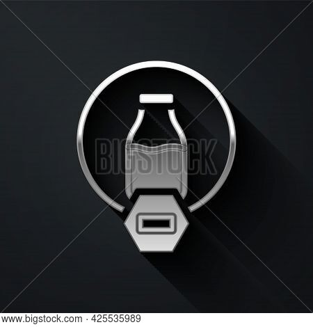 Silver Lactose Free Icon Isolated On Black Background. Long Shadow Style. Vector