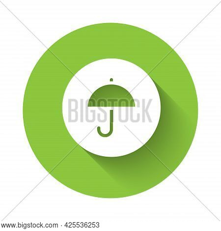 White Delivery Package With Umbrella Symbol Icon Isolated With Long Shadow Background. Parcel Cardbo
