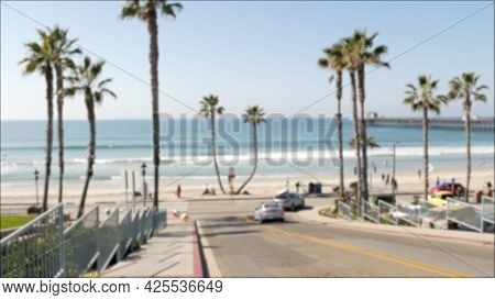 Road To Pacific Ocean Beach, Oceanside California Usa. Tropical Summertime Palm Trees On Waterfront