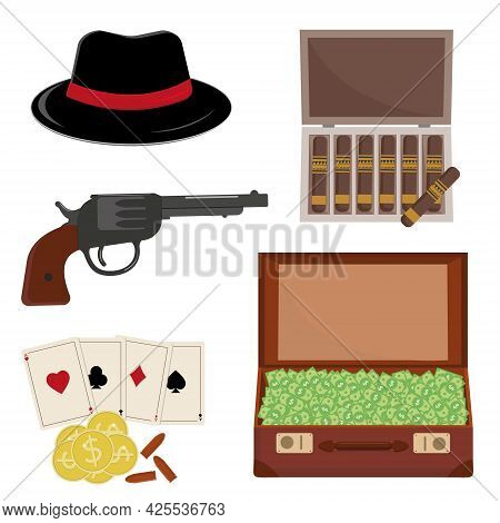 Mafia Set, Men's Hat, Money In A Suitcase And A Revolver With Playing Cards, Vector Illustration Fla