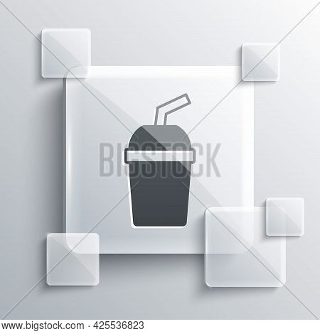 Grey Paper Glass With Drinking Straw And Water Icon Isolated On Grey Background. Soda Drink Glass. F