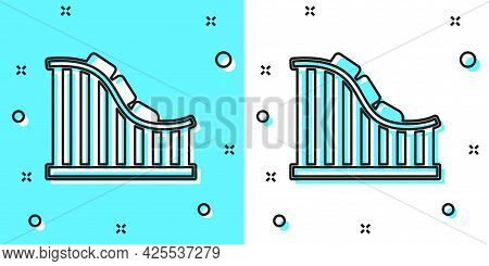 Black Line Roller Coaster Icon Isolated On Green And White Background. Amusement Park. Childrens Ent