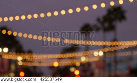 Defocused Illuminated Electric Garland, Palm Trees Silhouettes, Oceanside California Usa. Ocean Beac