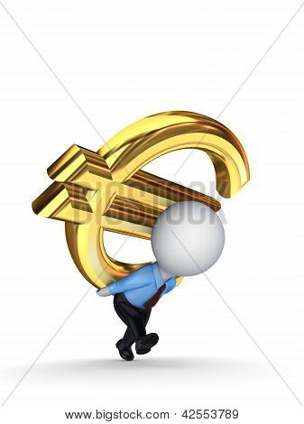 3d small person with a sign of dollar on the back.