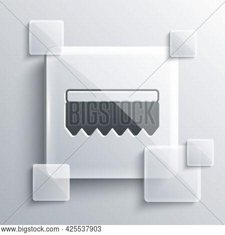Grey Sponge Icon Isolated On Grey Background. Wisp Of Bast For Washing Dishes. Cleaning Service Logo
