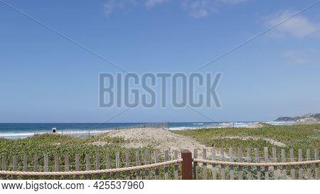 Blue Turquoise Water Surf, Big Tide Waves On Sunny Summer Beach, Encinitas Shoreline, California Usa