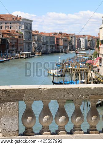 View Of Grand Canal Of Venice During Lockdown Without Tourists And Few Boats