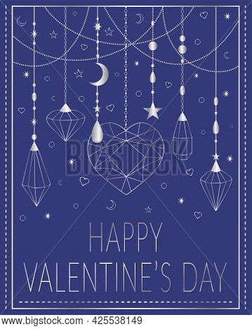 Valentine's Day Greeting Card. Vector Illustration. For Valentine's Day, Declaration Of Love. Silver