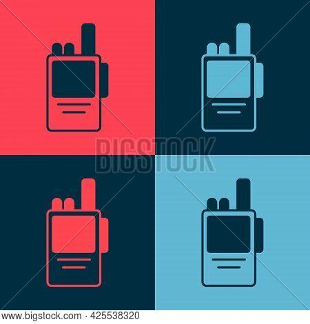 Pop Art Walkie Talkie Icon Isolated On Color Background. Portable Radio Transmitter Icon. Radio Tran