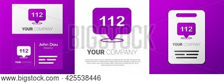 Logotype Telephone With Emergency Call 112 Icon Isolated On White Background. Police, Ambulance, Fir