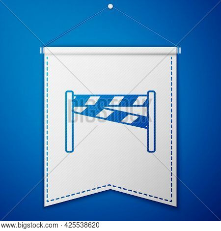 Blue Crime Scene Icon Isolated On Blue Background. White Pennant Template. Vector
