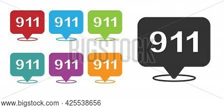 Black Telephone With Emergency Call 911 Icon Isolated On White Background. Police, Ambulance, Fire D