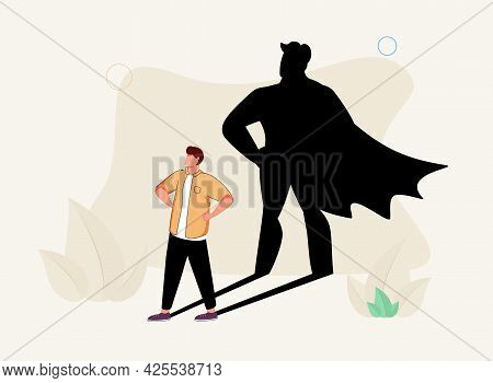 Superhero Male As Professional Strong And Brave Leader Tiny Person Concept. Everyday Human With Cape