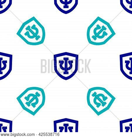 Blue Psychology Icon Isolated Seamless Pattern On White Background. Psi Symbol. Mental Health Concep