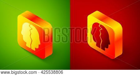 Isometric Bipolar Disorder Icon Isolated On Green And Red Background. Square Button. Vector