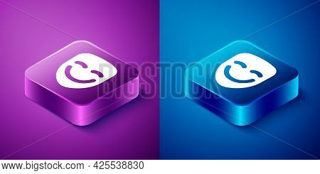 Isometric Comedy Theatrical Mask Icon Isolated On Blue And Purple Background. Square Button. Vector
