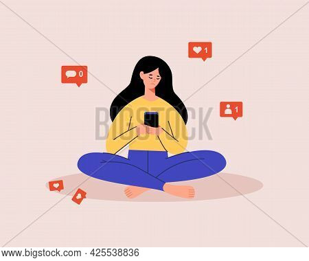 Sad Female Character Using Mobile Phone, Checking Social Media, Waiting For Like, Comment. Influence
