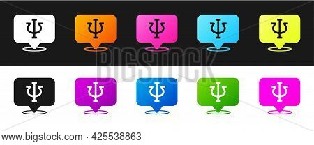 Set Psychology Icon Isolated On Black And White Background. Psi Symbol. Mental Health Concept, Psych