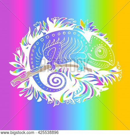 Hand Drawn Colored Chameleon In Doodle Style Isolated On Rainbow Background. Hand Drawn Reptile Vect