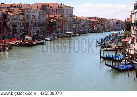 Grand Canal Is The Widest Street Of Communication On The Water In Venice Island In Italy Without Boa