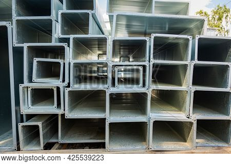 Ventilation Pipes Are Square And Rectangular. Steel Pipes, Parts For The Construction Of Air Ducts F