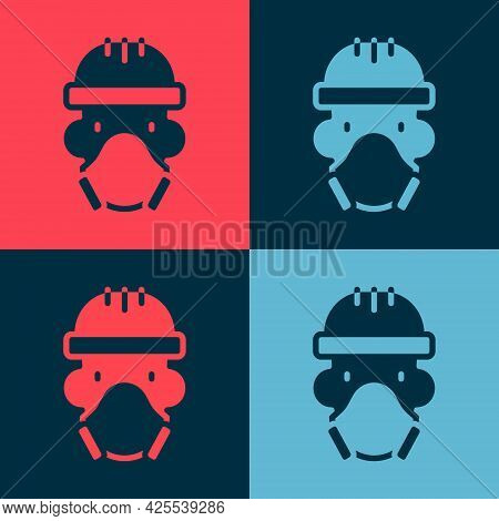 Pop Art Nuclear Power Plant Worker Wearing Protective Clothing Icon Isolated On Color Background. Nu