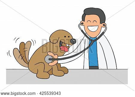 Cartoon Veterinarian Examining Dog With Stethoscope, Vector Illustration. Colored And Black Outlines