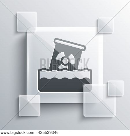 Grey Radioactive Waste In Barrel Icon Isolated On Grey Background. Toxic Waste Contamination On Wate