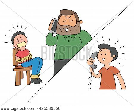 Cartoon Man Held Hostage And Ransom Demanded By Phone, Vector Illustration. Colored And Black Outlin