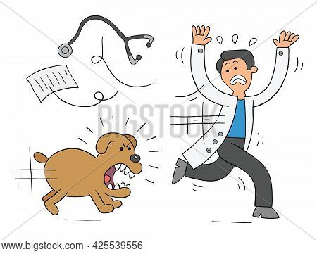 Cartoon Dog Is Very Angry And Is Chasing Vet, Vector Illustration. Colored And Black Outlines.