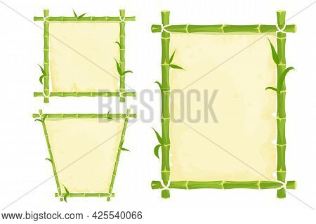 Set Of Green Bamboo Frames With Leaves And Old Parchment, Rope In Cartoon Style Isolated On White Ba