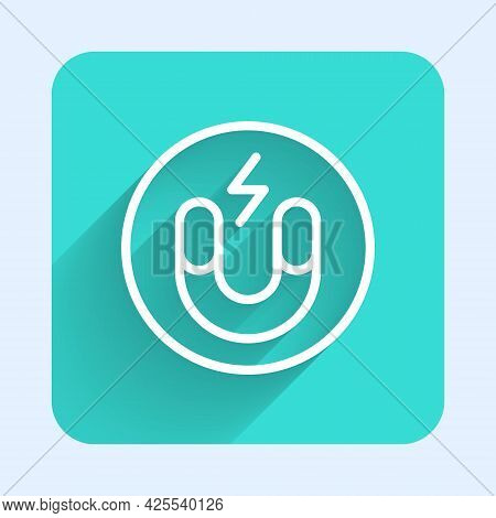 White Line Magnet Icon Isolated With Long Shadow Background. Horseshoe Magnet, Magnetism, Magnetize,