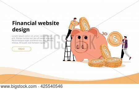 Two Investors Putting Coins In Piggybank. Bank, Money, Income Flat Vector Illustration. Finance And