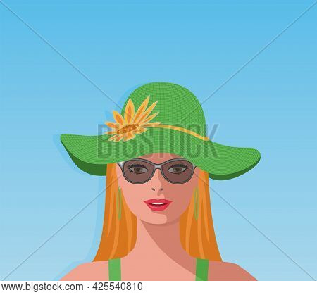 Redhead, Red Hair Woman With Big Green Sun Hat And Sunglasses. Vector Illustration. Eps10.