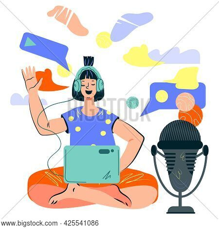 Woman Podcaster Talking To Microphone Recording Or Leading Podcast. Social Network Radio Broadcast,