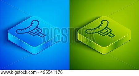 Isometric Line Sausage On The Fork Icon Isolated On Blue And Green Background. Grilled Sausage And A