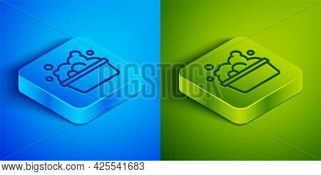 Isometric Line Plastic Basin With Soap Suds Icon Isolated On Blue And Green Background. Bowl With Wa