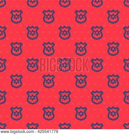 Blue Line Police Badge Icon Isolated Seamless Pattern On Red Background. Sheriff Badge Sign. Vector