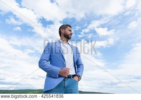 Successful Boss In Businesslike Suit. Entrepreneur Or Manager. Male Formal Fashion.