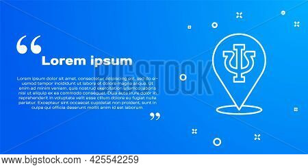 White Line Psychology Icon Isolated On Blue Background. Psi Symbol. Mental Health Concept, Psychoana