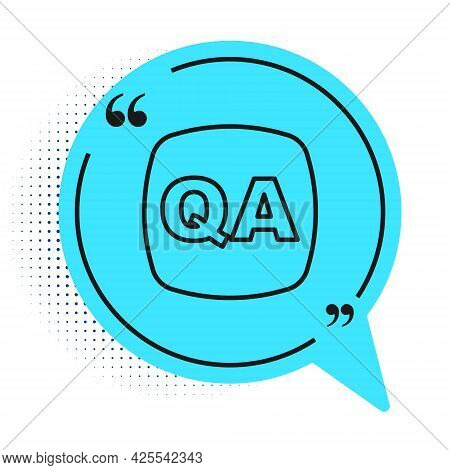 Black Line Speech Bubbles With Question And Answer Icon Isolated On White Background. Q And A Symbol
