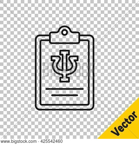 Black Line Psychology Icon Isolated On Transparent Background. Psi Symbol. Mental Health Concept, Ps