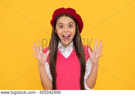 I Am So Happy. Amazed Child Has Long Hair. Skin Beauty. Tween And Youth. Casual Fashion.