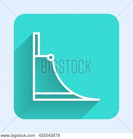 White Line Skate Park Icon Isolated With Long Shadow Background. Set Of Ramp, Roller, Stairs For A S