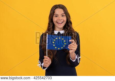 Amazed Kid Hold European Union Flag Yellow Background, European Union