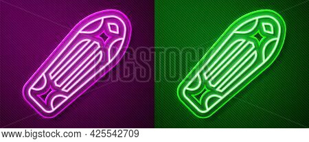 Glowing Neon Line Skateboard Deck Icon Isolated On Purple And Green Background. Extreme Sport. Sport