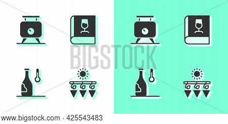 Set Drying Grapes, Fermentation Of, Wine Temperature And Book About Wine Icon. Vector