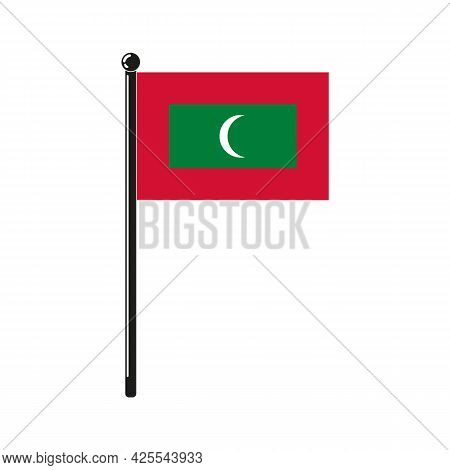National Flag Of Maldives In The Original Colours And On The Stick