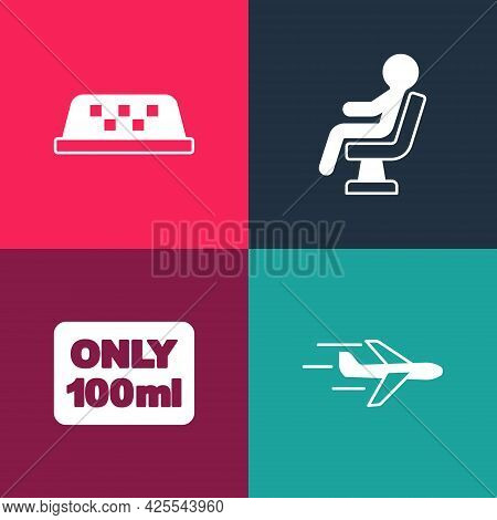 Set Pop Art Plane, Liquids In Carry-on Baggage, Human Waiting Airport Terminal And Taxi Roof Icon. V